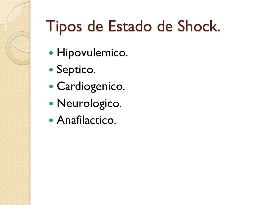 Tipos de Estado de Shock. Hipovulemico. Septico. Cardiogenico. Neurologico. Anafilactico.