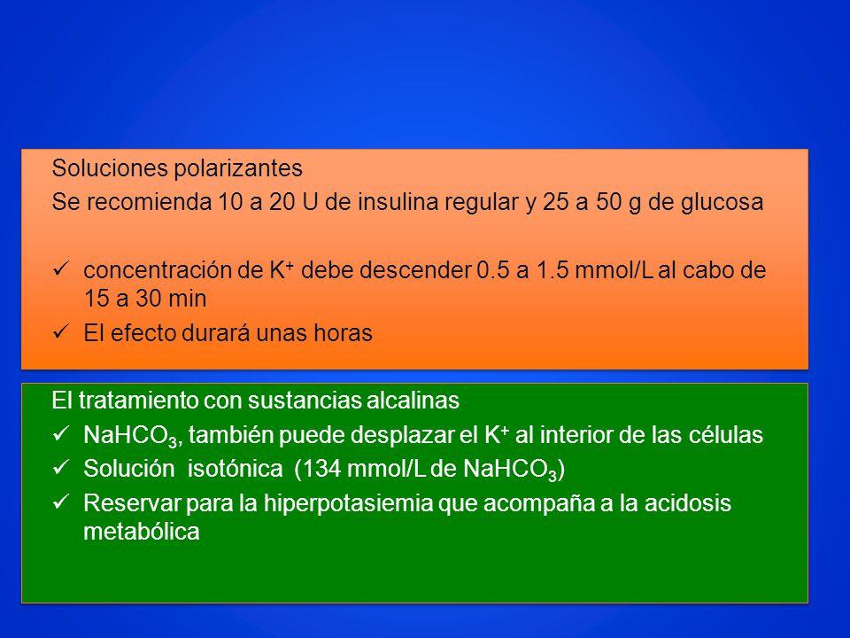 Soluciones polarizantes Se recomienda 10 a 20 U de insulina regular y 25 a 50 g de glucosa concentración de K + debe descender 0.5 a 1.5 mmol/L al cab