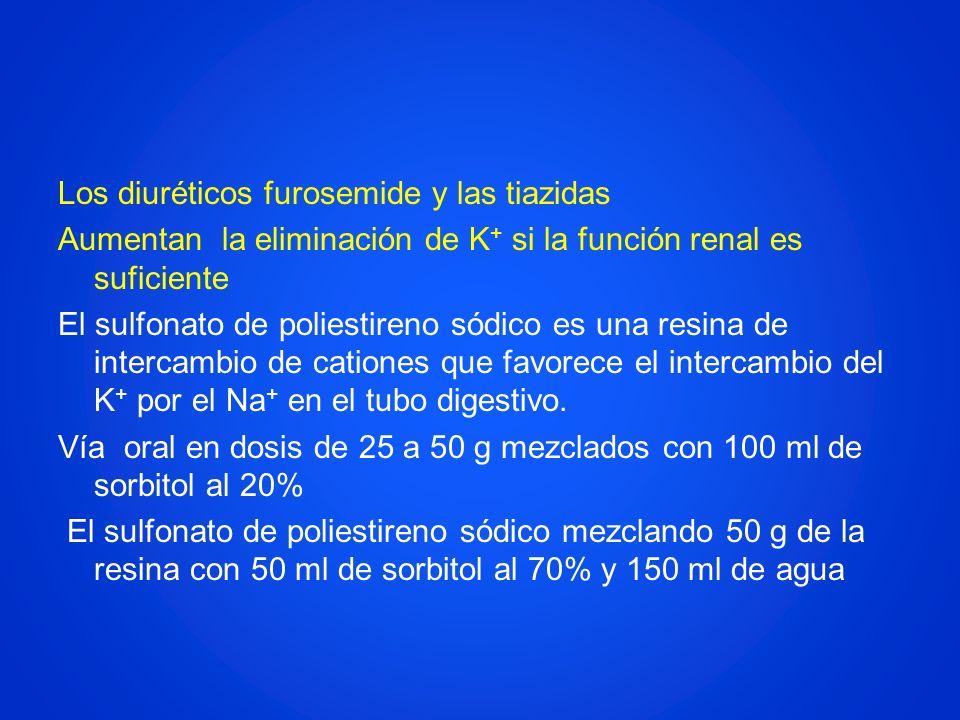 Los diuréticos furosemide y las tiazidas Aumentan la eliminación de K + si la función renal es suficiente El sulfonato de poliestireno sódico es una r