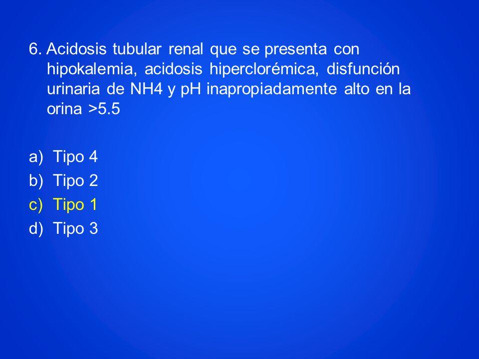 6. Acidosis tubular renal que se presenta con hipokalemia, acidosis hiperclorémica, disfunción urinaria de NH4 y pH inapropiadamente alto en la orina