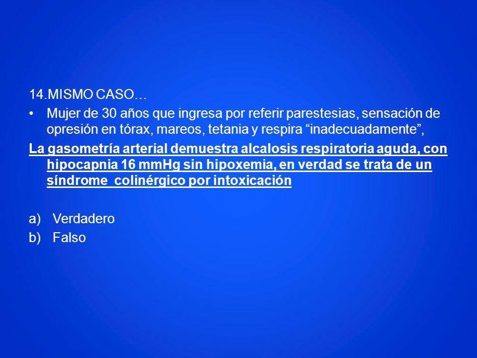 14.MISMO CASO… Mujer de 30 años que ingresa por referir parestesias, sensación de opresión en tórax, mareos, tetania y respira inadecuadamente, La gas