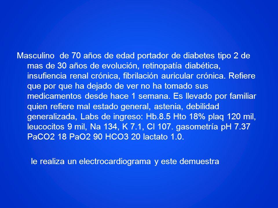 Masculino de 70 años de edad portador de diabetes tipo 2 de mas de 30 años de evolución, retinopatía diabética, insufiencia renal crónica, fibrilación
