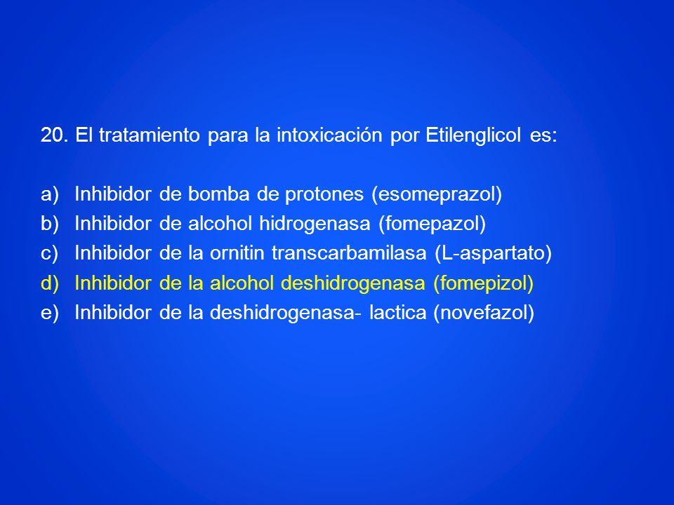 20. El tratamiento para la intoxicación por Etilenglicol es: a)Inhibidor de bomba de protones (esomeprazol) b)Inhibidor de alcohol hidrogenasa (fomepa