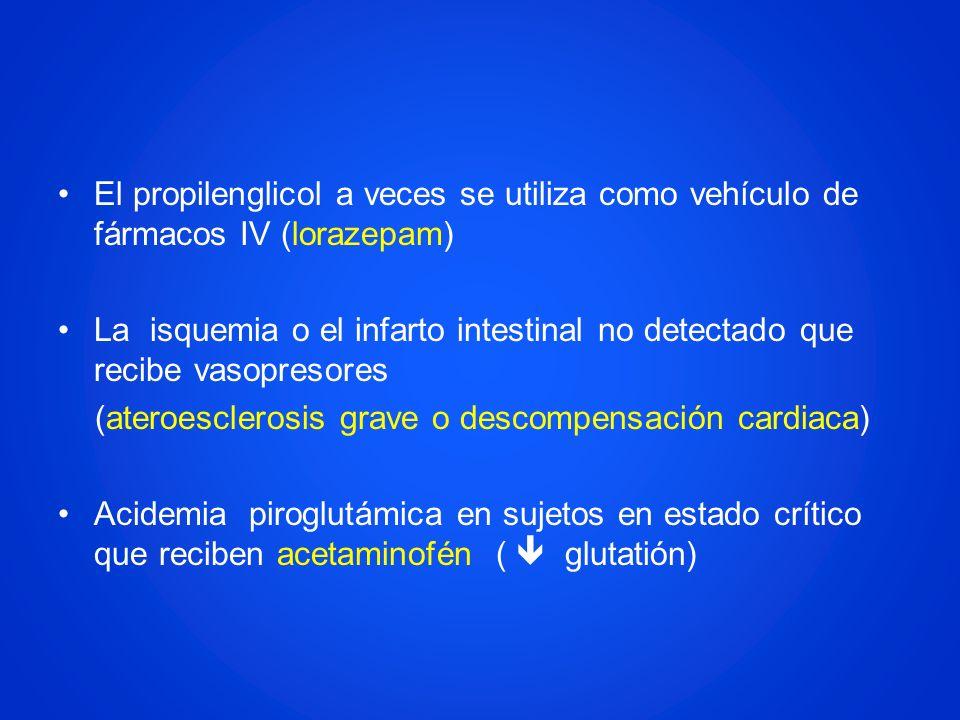 El propilenglicol a veces se utiliza como vehículo de fármacos IV (lorazepam) La isquemia o el infarto intestinal no detectado que recibe vasopresores
