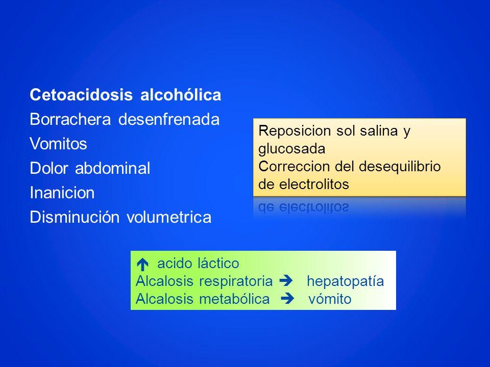 Cetoacidosis alcohólica Borrachera desenfrenada Vomitos Dolor abdominal Inanicion Disminución volumetrica acido láctico Alcalosis respiratoria hepatop