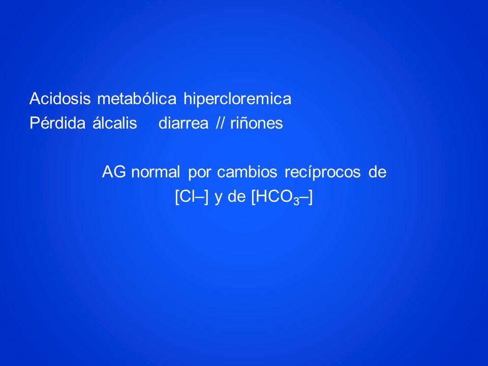 Acidosis metabólica hipercloremica Pérdida álcalis diarrea // riñones AG normal por cambios recíprocos de [Cl–] y de [HCO 3 –]
