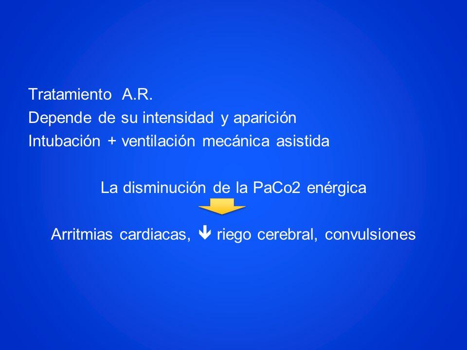 Tratamiento A.R. Depende de su intensidad y aparición Intubación + ventilación mecánica asistida La disminución de la PaCo2 enérgica Arritmias cardiac