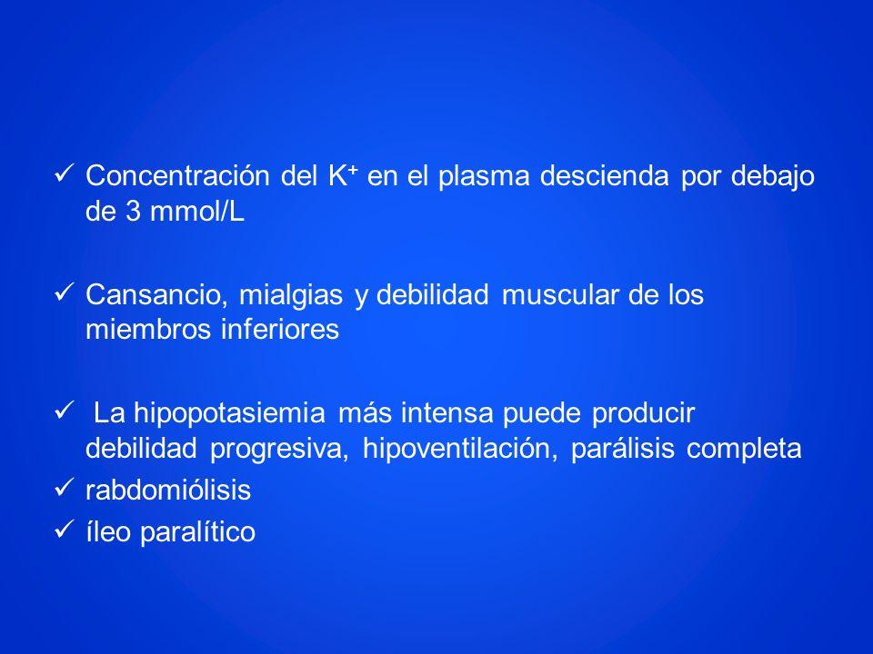Concentración del K + en el plasma descienda por debajo de 3 mmol/L Cansancio, mialgias y debilidad muscular de los miembros inferiores La hipopotasie