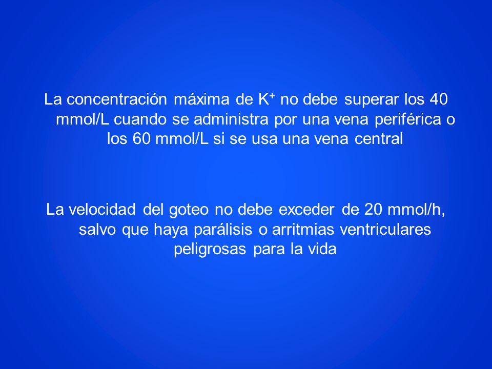 La concentración máxima de K + no debe superar los 40 mmol/L cuando se administra por una vena periférica o los 60 mmol/L si se usa una vena central L