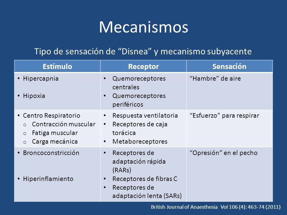 Mecanismos EstímuloReceptorSensación Hipercapnia Hipoxia Quemoreceptores centrales Quemoreceptores periféricos Hambre de aire Centro Respiratorio o Co