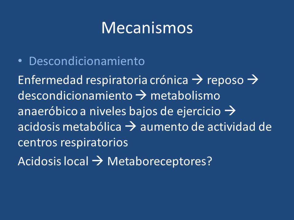 Mecanismos Descondicionamiento Enfermedad respiratoria crónica reposo descondicionamiento metabolismo anaeróbico a niveles bajos de ejercicio acidosis