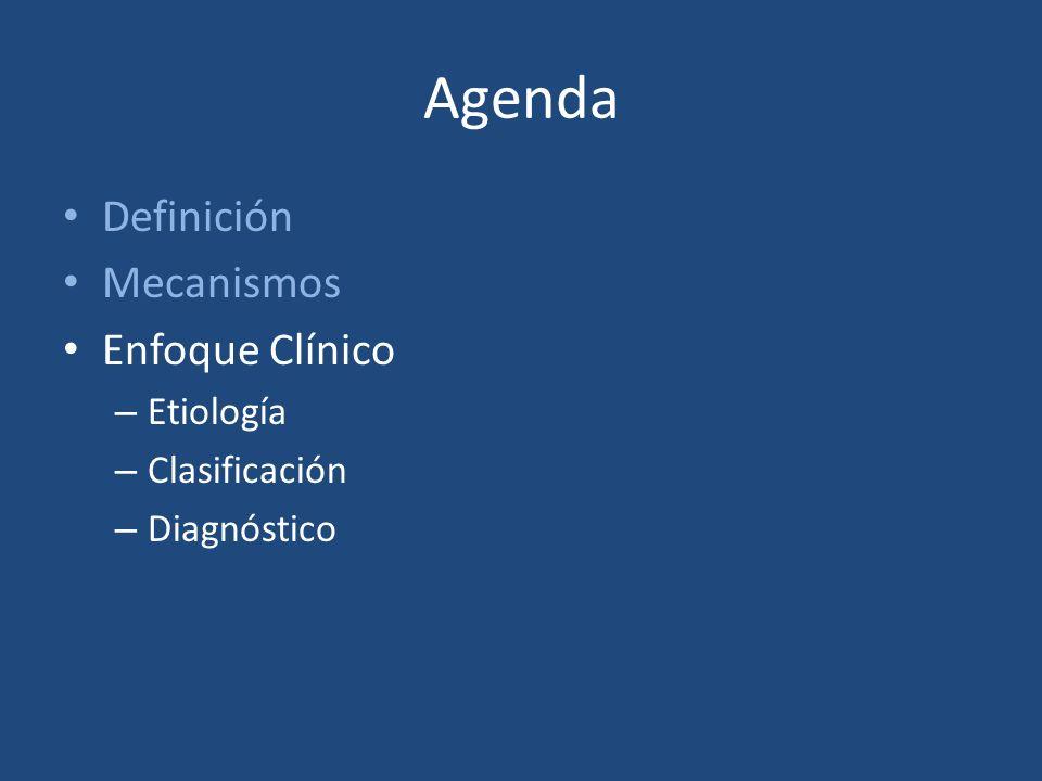 Agenda Definición Mecanismos Enfoque Clínico – Etiología – Clasificación – Diagnóstico