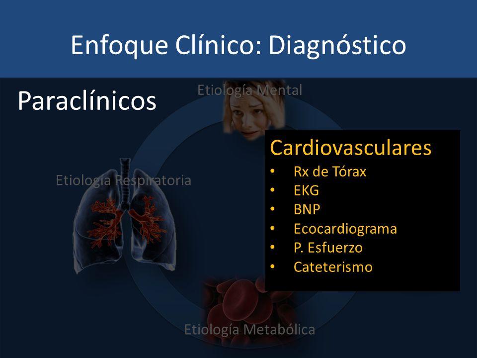 Enfoque Clínico: Diagnóstico Etiología Respiratoria Etiología Cardiovascular Etiología Metabólica Etiología Mental Paraclínicos Cardiovasculares Rx de