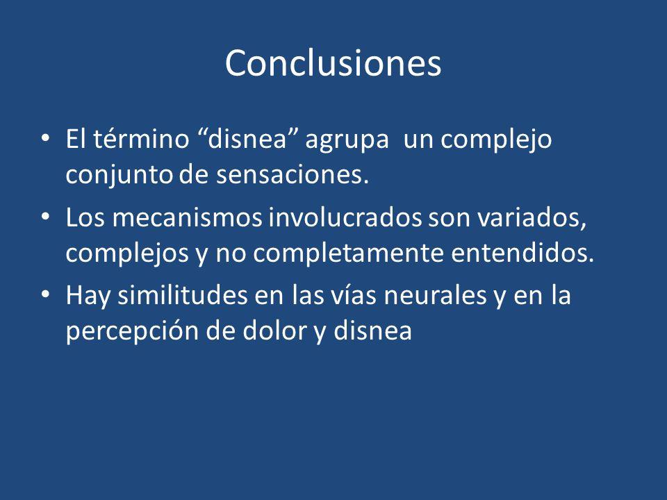 Conclusiones El término disnea agrupa un complejo conjunto de sensaciones. Los mecanismos involucrados son variados, complejos y no completamente ente