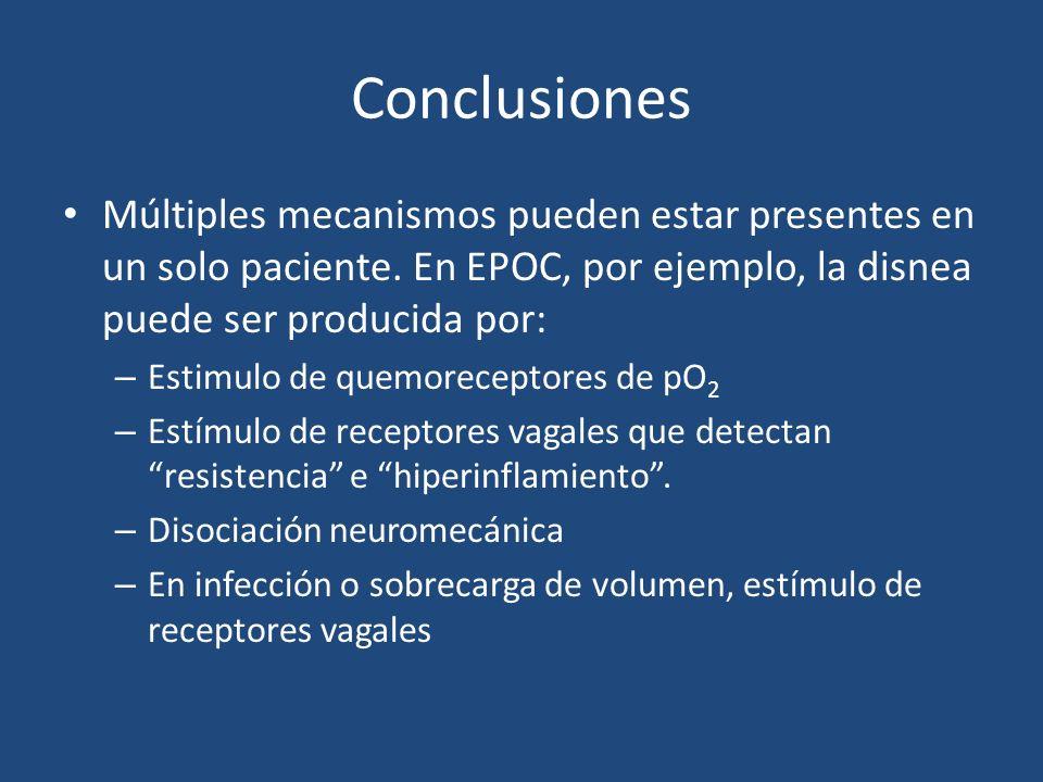 Conclusiones Múltiples mecanismos pueden estar presentes en un solo paciente. En EPOC, por ejemplo, la disnea puede ser producida por: – Estimulo de q