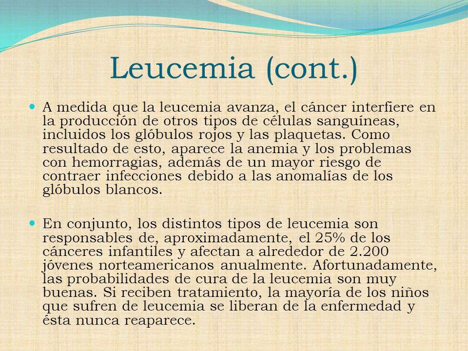 Tipos de Leucemia Leucemia linfocitica aguda Luecemia mielogena aguda Leucemia linfocitica cronica Leucemia mielogena cronica La leucemia puede desarrollarse rápida o lentamente.