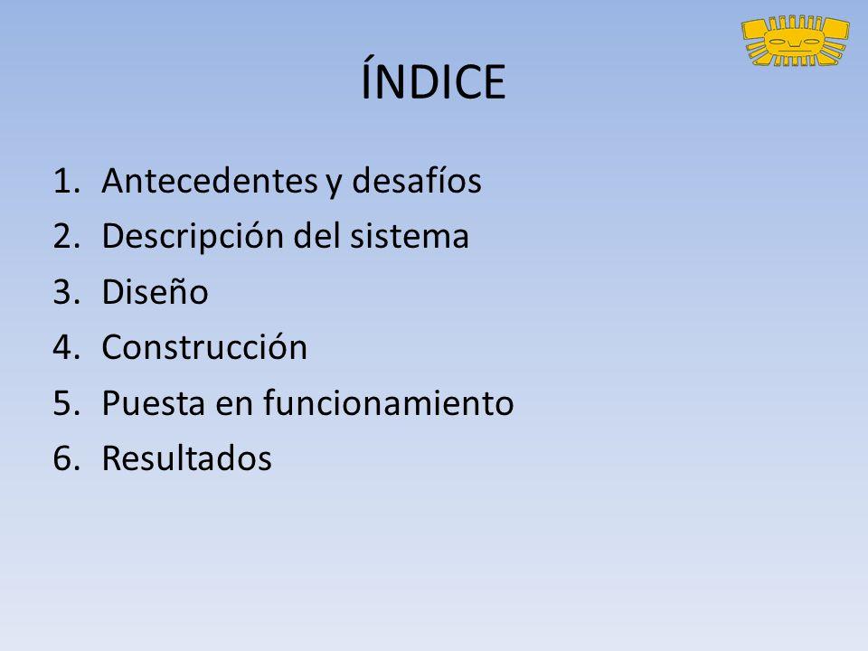 ÍNDICE 1.Antecedentes y desafíos 2.Descripción del sistema 3.Diseño 4.Construcción 5.Puesta en funcionamiento 6.Resultados