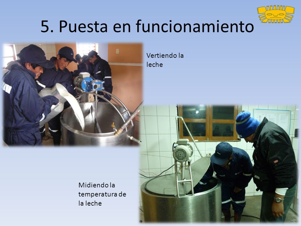 5. Puesta en funcionamiento Vertiendo la leche Midiendo la temperatura de la leche
