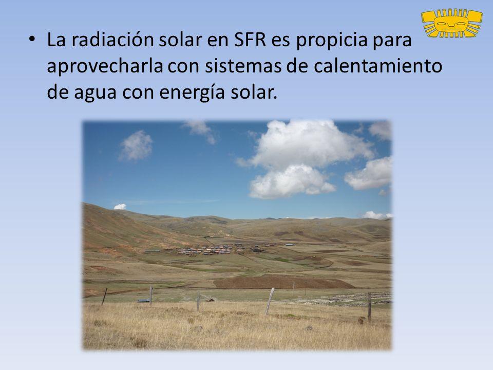La radiación solar en SFR es propicia para aprovecharla con sistemas de calentamiento de agua con energía solar.