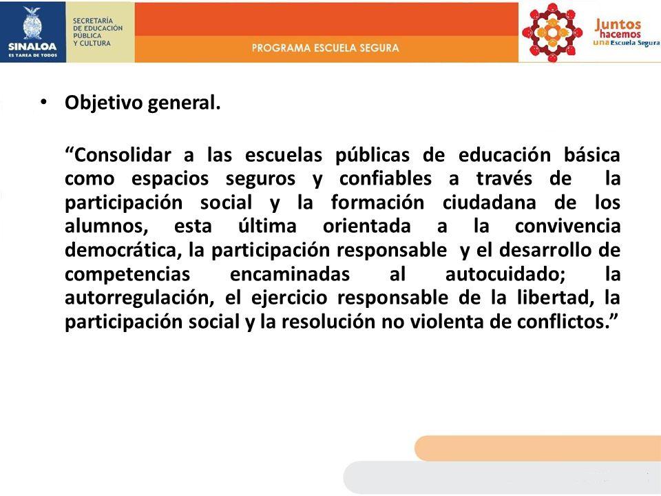Objetivo general. Consolidar a las escuelas públicas de educación básica como espacios seguros y confiables a través de la participación social y la f