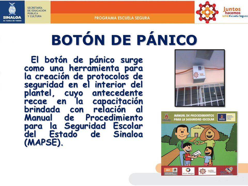 BOTÓN DE PÁNICO El botón de pánico surge como una herramienta para la creación de protocolos de seguridad en el interior del plantel, cuyo antecedente