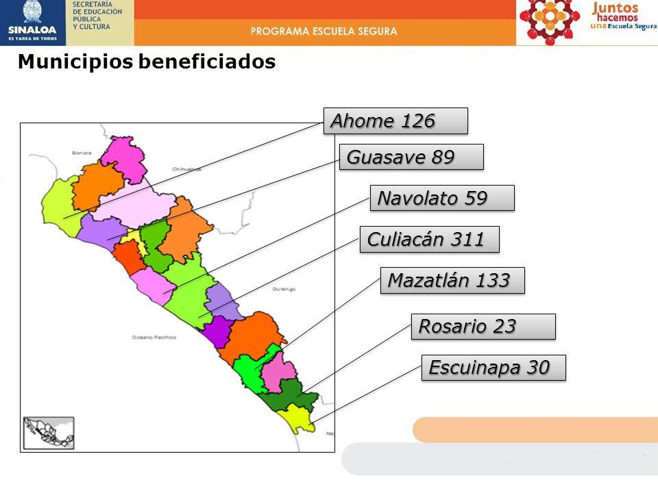 Municipios beneficiados Ahome 126 Guasave 89 Navolato 59 Culiacán 311 Mazatlán 133 Rosario 23 Escuinapa 30