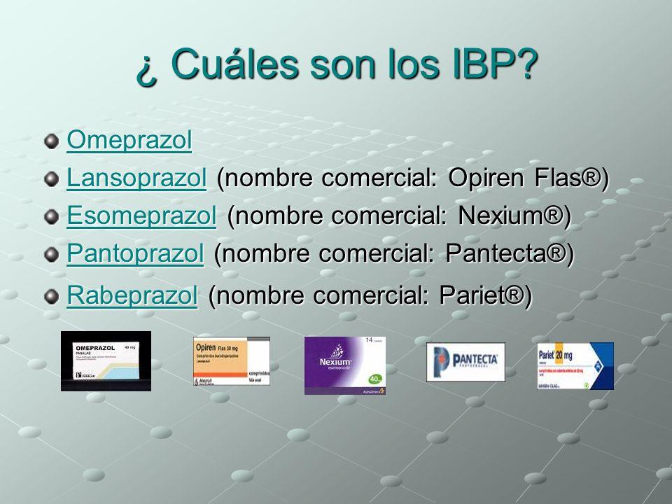 ¿ Cuáles son los IBP? Omeprazol LansoprazolLansoprazol (nombre comercial: Opiren Flas®) Lansoprazol EsomeprazolEsomeprazol (nombre comercial: Nexium®)