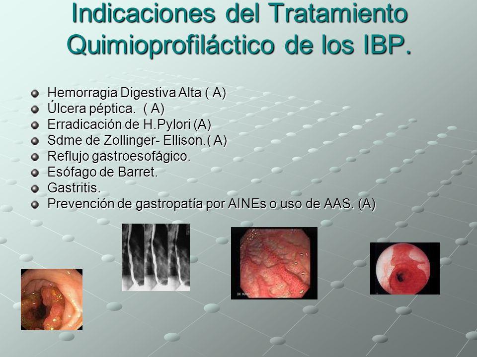 Indicaciones del Tratamiento Quimioprofiláctico de los IBP. Hemorragia Digestiva Alta ( A) Úlcera péptica. ( A) Erradicación de H.Pylori (A) Sdme de Z