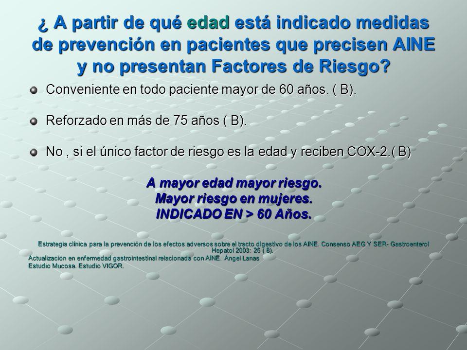 ¿ A partir de qué edad está indicado medidas de prevención en pacientes que precisen AINE y no presentan Factores de Riesgo? Conveniente en todo pacie