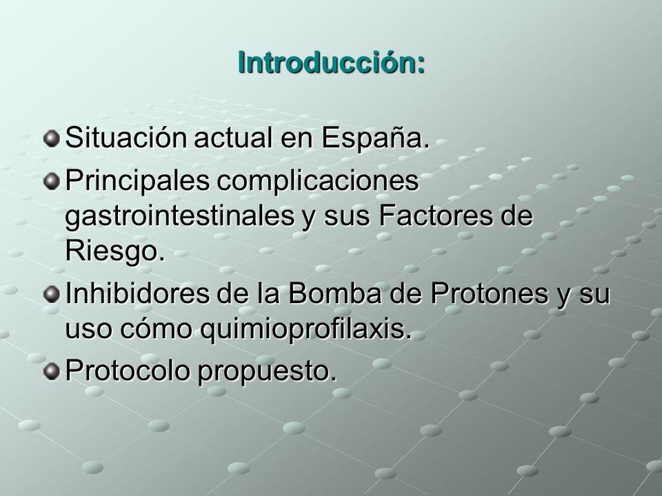 Introducción: Situación actual en España. Principales complicaciones gastrointestinales y sus Factores de Riesgo. Inhibidores de la Bomba de Protones