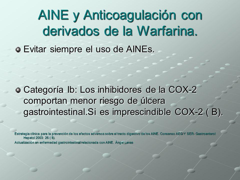 AINE y Anticoagulación con derivados de la Warfarina. Evitar siempre el uso de AINEs. Categoría Ib: Los inhibidores de la COX-2 comportan menor riesgo