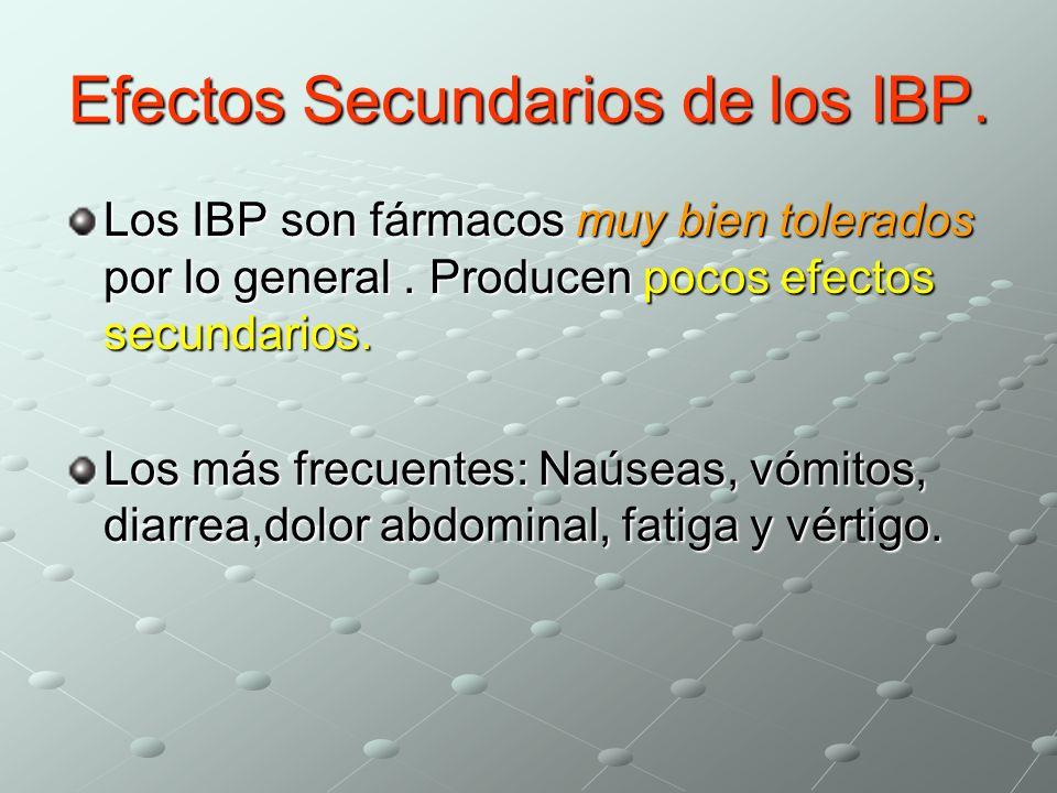 Efectos Secundarios de los IBP. Los IBP son fármacos muy bien tolerados por lo general. Producen pocos efectos secundarios. Los más frecuentes: Naúsea