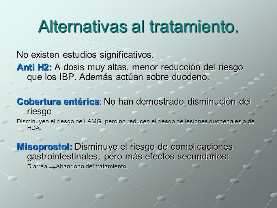 Alternativas al tratamiento. No existen estudios significativos. Anti H2: A dosis muy altas, menor reducción del riesgo que los IBP. Además actúan sob