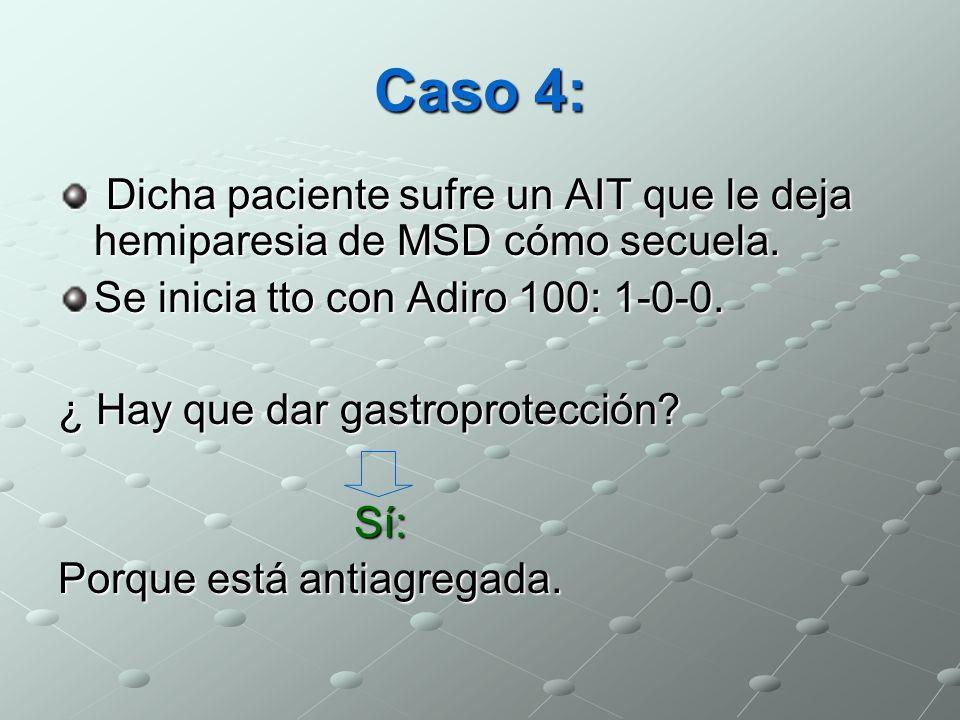 Caso 4: Dicha paciente sufre un AIT que le deja hemiparesia de MSD cómo secuela. Dicha paciente sufre un AIT que le deja hemiparesia de MSD cómo secue