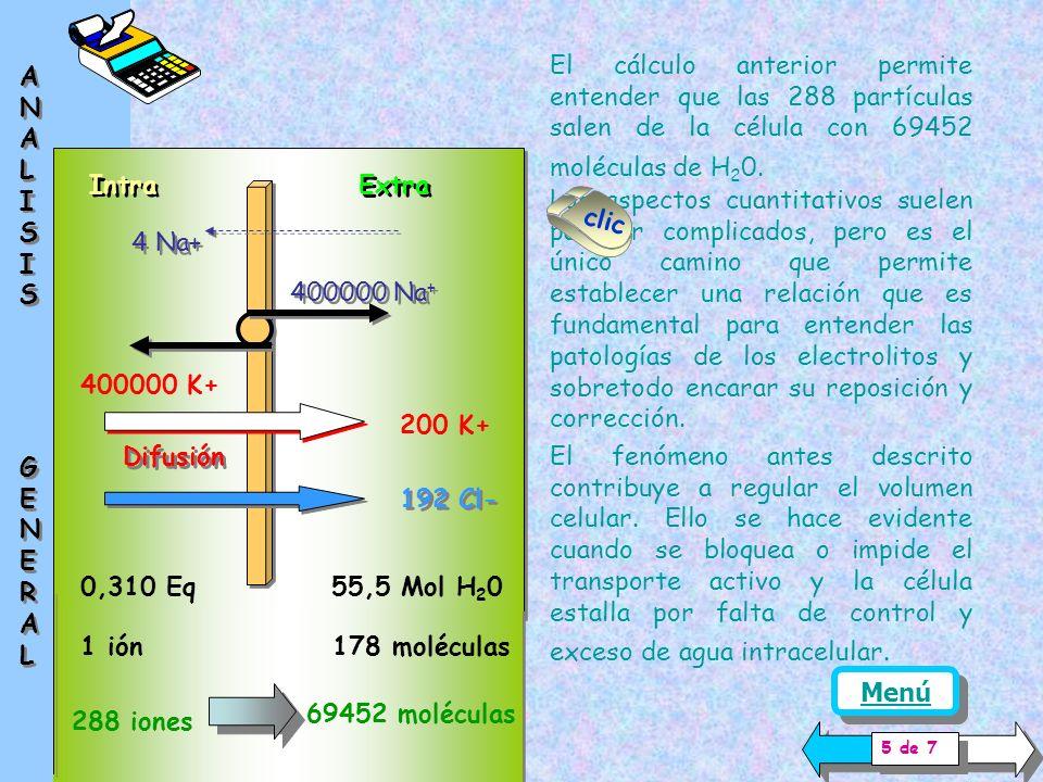 El modelo presentado supone una concentración de 0,310 Eq / l ( solución 0.150N ) Intra Extra 400000 Na + 400000 K+ 4 Na+ Difusión 200 K+ 192 Cl- Por la pequeña disociación del agua se acepta que su concentración es constante y de 55.5 Mol / l.