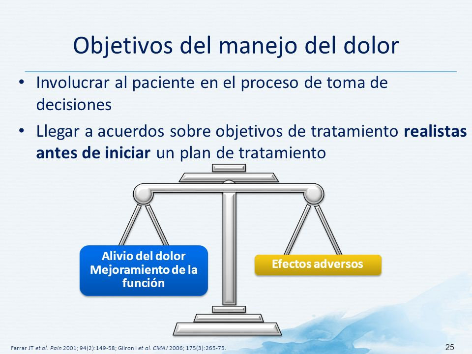 Objetivos del manejo del dolor Involucrar al paciente en el proceso de toma de decisiones Llegar a acuerdos sobre objetivos de tratamiento realistas antes de iniciar un plan de tratamiento Farrar JT et al.