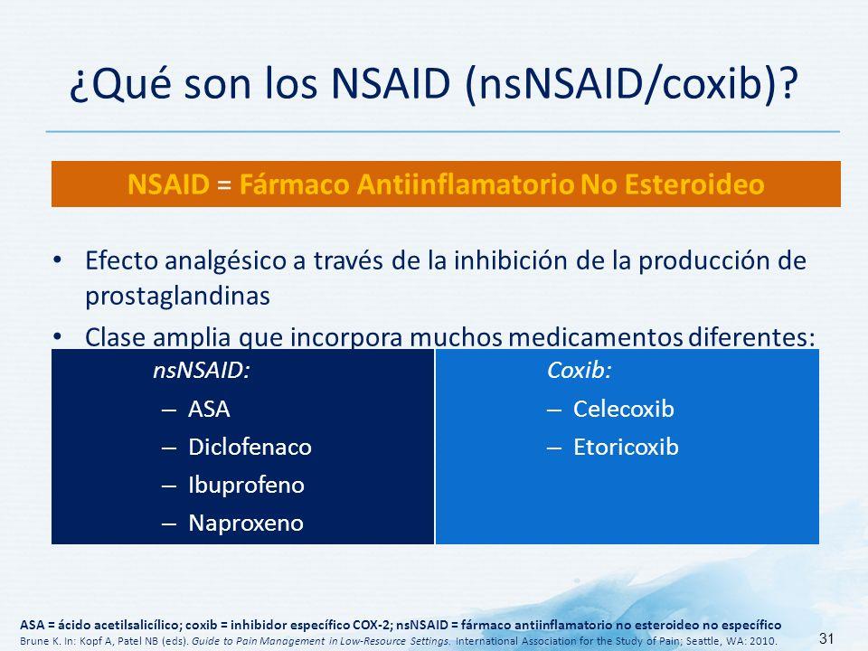 ¿Qué son los NSAID (nsNSAID/coxib).