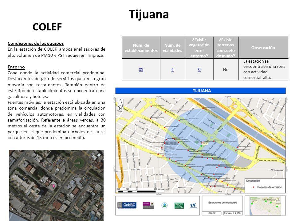 Tijuana COLEF Núm. de establecimientos Núm. de vialidades ¿Existe vegetación en el entorno.