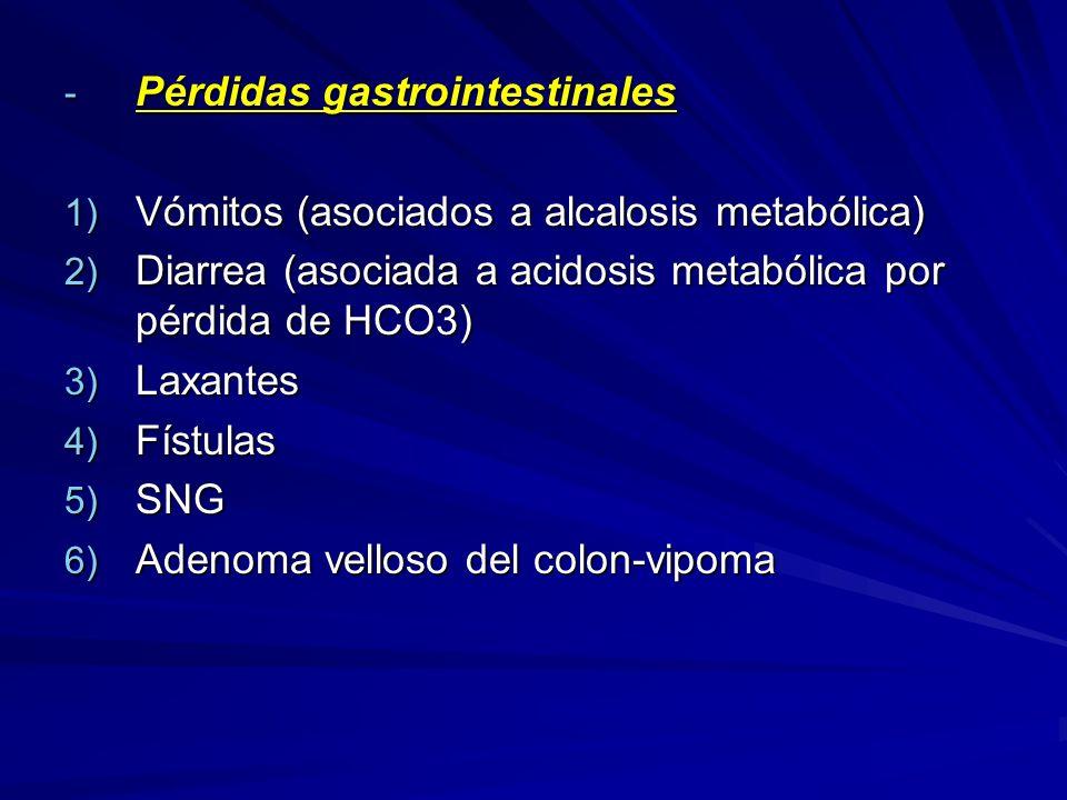 - Pérdidas gastrointestinales 1) Vómitos (asociados a alcalosis metabólica) 2) Diarrea (asociada a acidosis metabólica por pérdida de HCO3) 3) Laxante