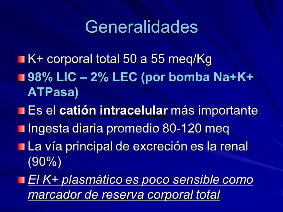 Generalidades K+ corporal total 50 a 55 meq/Kg 98% LIC – 2% LEC (por bomba Na+K+ ATPasa) Es el catión intracelular más importante Ingesta diaria prome