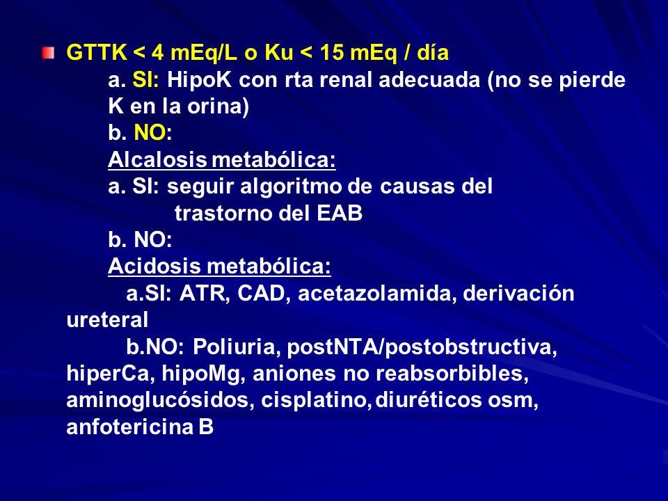 GTTK < 4 mEq/L o Ku < 15 mEq / día a. SI: HipoK con rta renal adecuada (no se pierde K en la orina) b. NO: Alcalosis metabólica: a. SI: seguir algorit