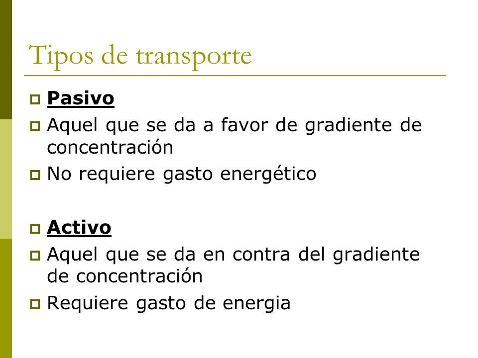 Tipos de transporte Pasivo Aquel que se da a favor de gradiente de concentración No requiere gasto energético Activo Aquel que se da en contra del gra