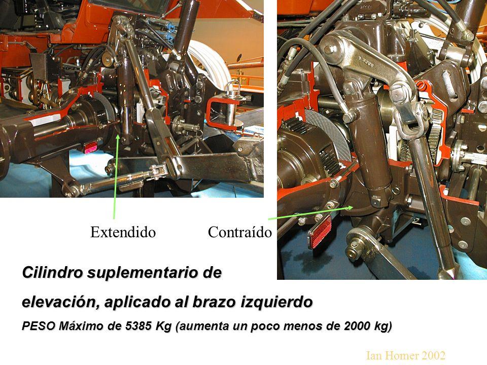 Cilindro suplementario de elevación, aplicado al brazo izquierdo PESO Máximo de 5385 Kg (aumenta un poco menos de 2000 kg) ExtendidoContraído Ian Homer 2002