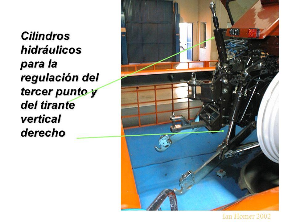 Cilindros hidráulicos para la regulación del tercer punto y del tirante vertical derecho Ian Homer 2002