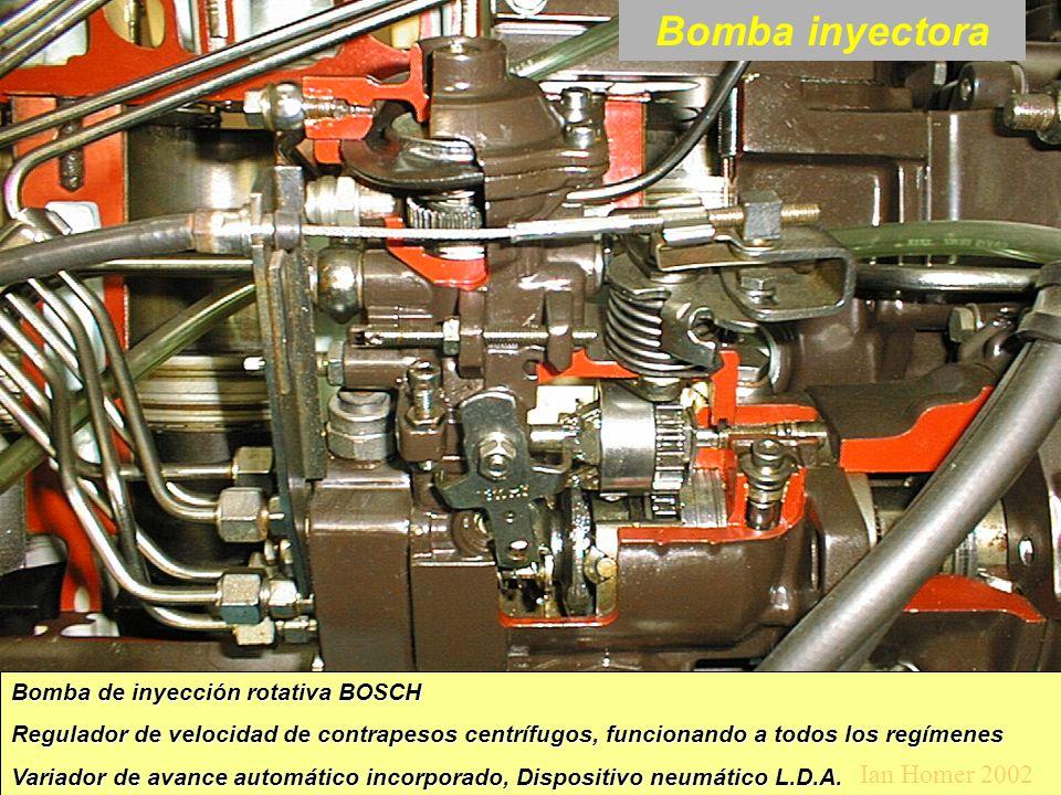 Bomba inyectora Bomba de inyección rotativa BOSCH Regulador de velocidad de contrapesos centrífugos, funcionando a todos los regímenes Variador de avance automático incorporado, Dispositivo neumático L.D.A.