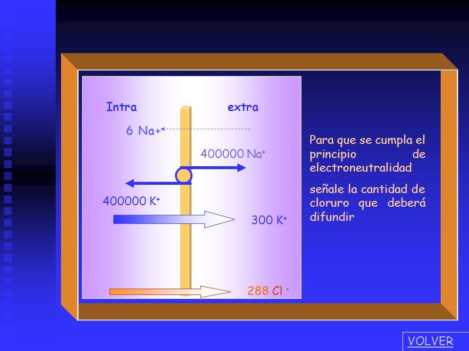 Intra extra 400000 Na + 400000 K + 6 Na+ 300 K + 294 Cl - Para que se cumpla el principio de electroneutralidad señale la cantidad de cloruro que debe