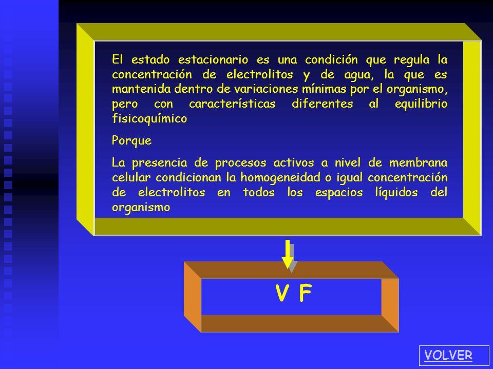 El estado estacionario es una condición que regula la concentración de electrolitos y de agua, la que es mantenida dentro de variaciones mínimas por e