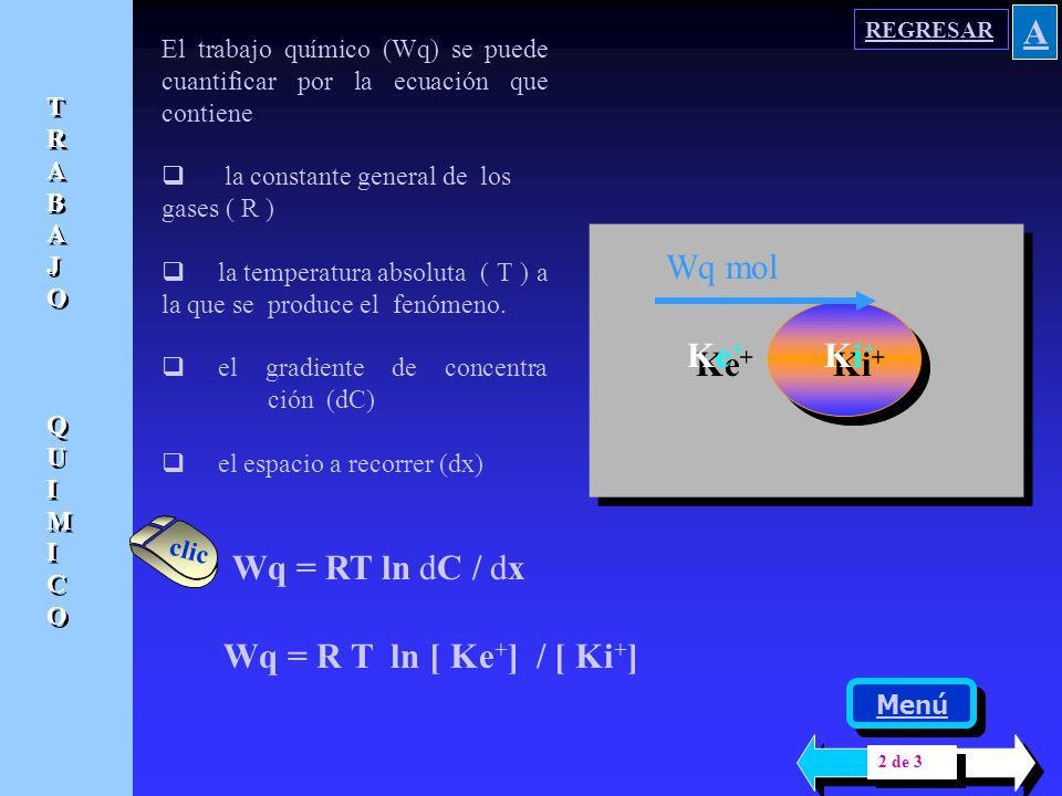 Hay en el fenómeno de balance iónico, un trabajo químico ( Wq ) determinado básicamente por gradientes de concentración y un trabajo eléctrico ( We )