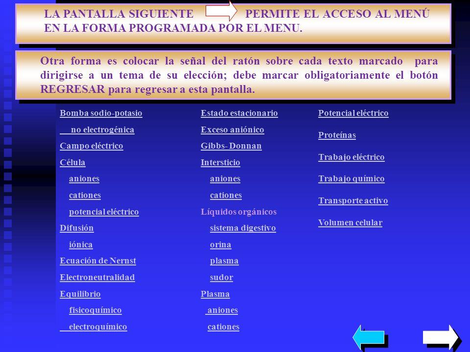 LIQUIDOS DEL ORGANISMO FIN LIQUIDO SODIO POTASIO CLORURO BICARBONATO pH ORINA 10 a 1200 5 a 1000 10 a 1200 0 4.5 a 8 SALIVA 30 20 34 5 a 30 7 a 8 ESTOMAGO 60 9 84 0 1 a 5 PANCREAS 150 5 77 92 7.5 a 8 INTESTINO 130 10 115 29 SUDOR 45 5 58 0 PLASMA 140 5 103 24 7.4 La pérdida de líquidos a través de la transpiración determina que se elimine una baja cantidad de sodio y de cloruro en relación al volumen de agua La concentración de sodio y cloruro aumentará en los líquidos corporales, pero no el potasio.