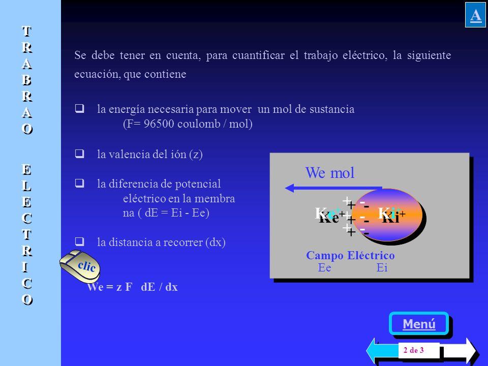 Ke+Ke+ Ke+Ke+ Ki+Ki+ Ki+Ki+ + - Cuando la molécula o la partícula tiene carga positiva o negativa y se traslada en un sistema que tiene un campo eléct